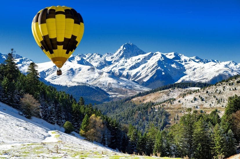 black and yellow hot air balloon